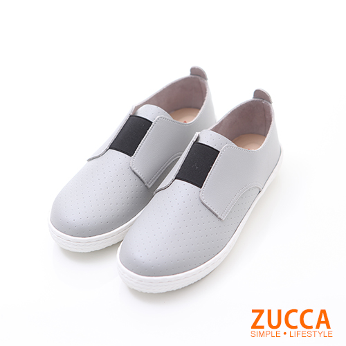 ZUCCA【z6214gy】軟質皮革平底懶人鞋-灰色