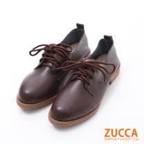 ZUCCA【z6235ce】仿皮革面繫帶平底鞋-棕色