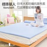 【HouseDoor 好適家居】記憶床墊 日本大和抗菌布3cm厚竹炭記憶薄墊