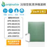【Original Life】空氣清淨機濾網 適用ARKDAN:APK-AB18C(Y)、APK-AB18C(S)、APK-MA22C(Y)、APK-MA22C(S)、 APK-CR9P(★長效可水洗