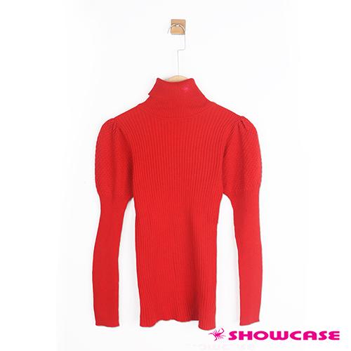 【SHOWCASE】高領公主袖直條針織上衣(紅色)