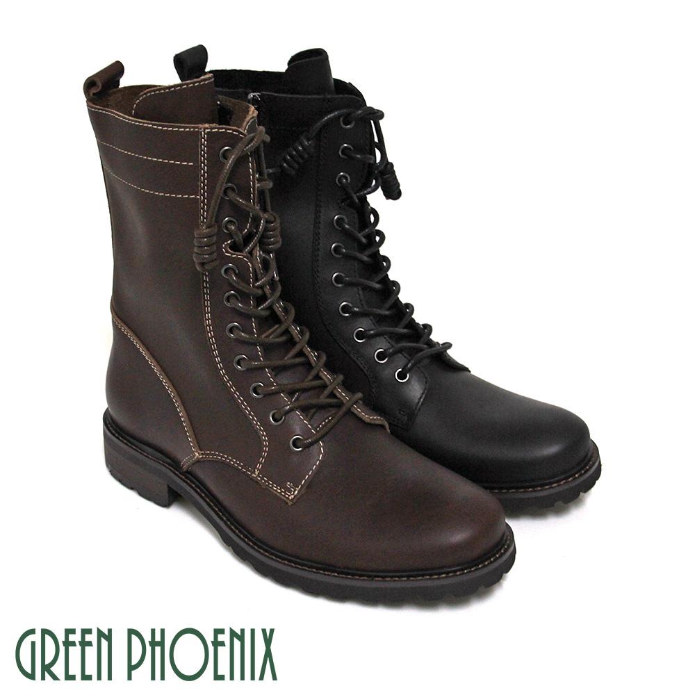 【GREEN PHOENIX】率性簡約線條感綁帶側拉鍊全真皮短筒男靴(男款)