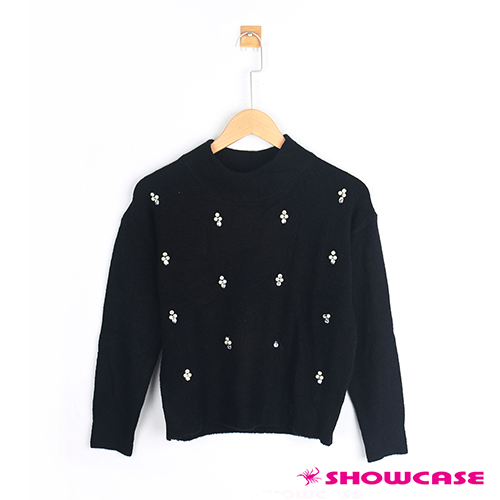 【SHOWCASE】縫珠水滴鑽彈性毛衣(共三色)