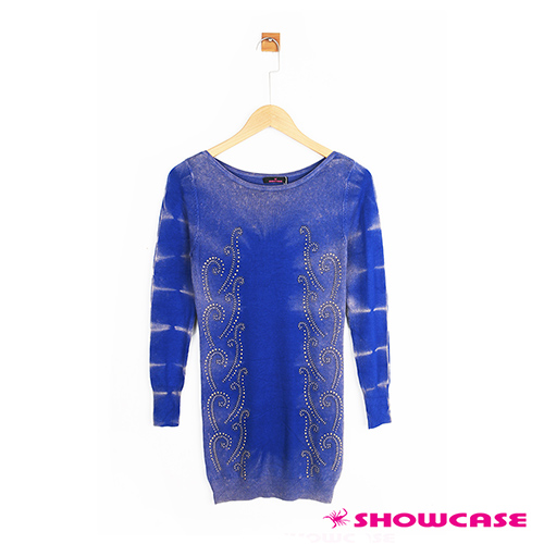 【SHOWCASE】混色花紋貼鑽針織上衣(藍色)
