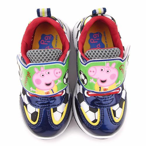 童鞋城堡-粉紅豬小妹 喬治豬 中童 足球輕量運動鞋PG6416-藍