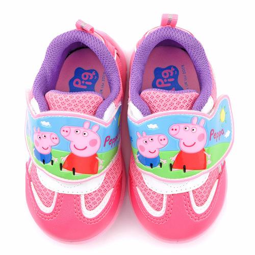 童鞋城堡-粉紅豬小妹 喬治豬 中童 輕量透氣運動鞋PG8543-桃