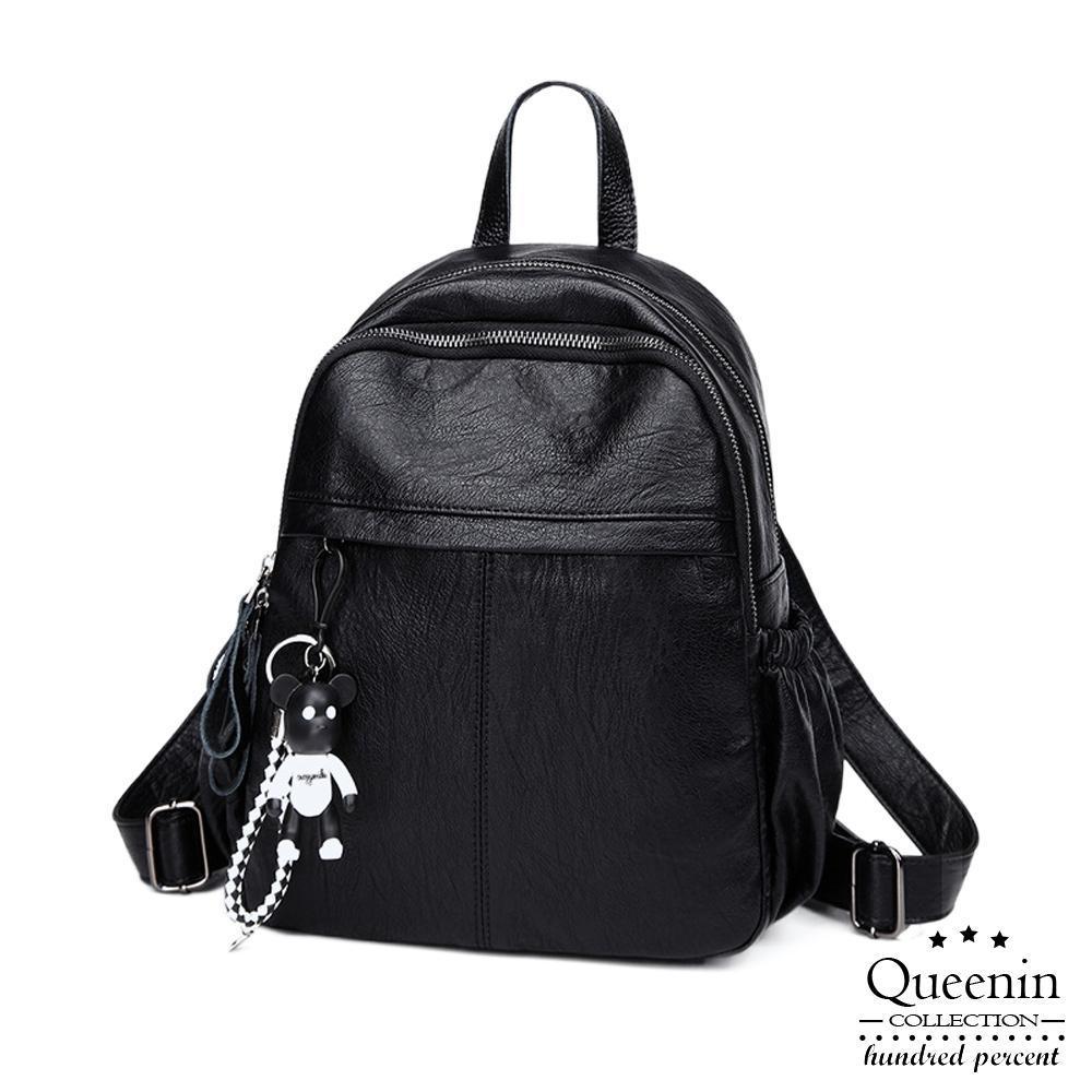 DF Queenin日韓 - 質感可愛吊飾柔軟皮革後背包