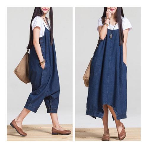 SCL時尚新式剪裁一件兩穿寬鬆連身長版牛仔裙褲裝 T1619