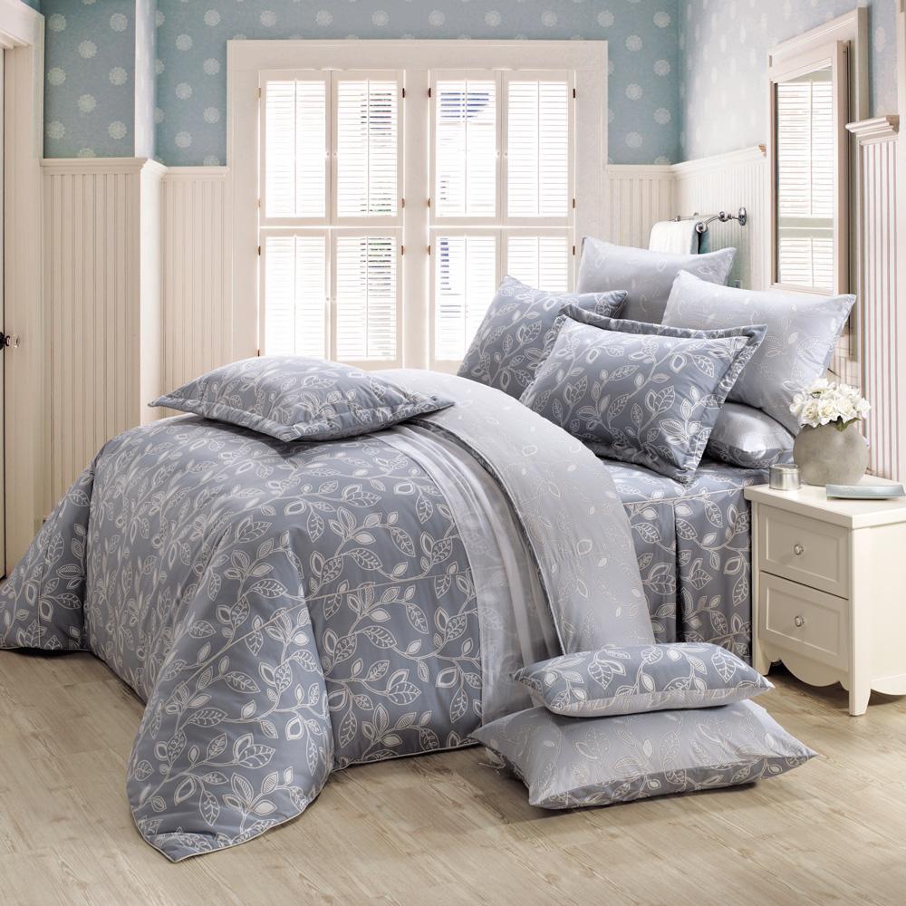 鴻宇HongYew《奧德曼-灰》精梳棉 雙人加大七件式兩用被床罩組
