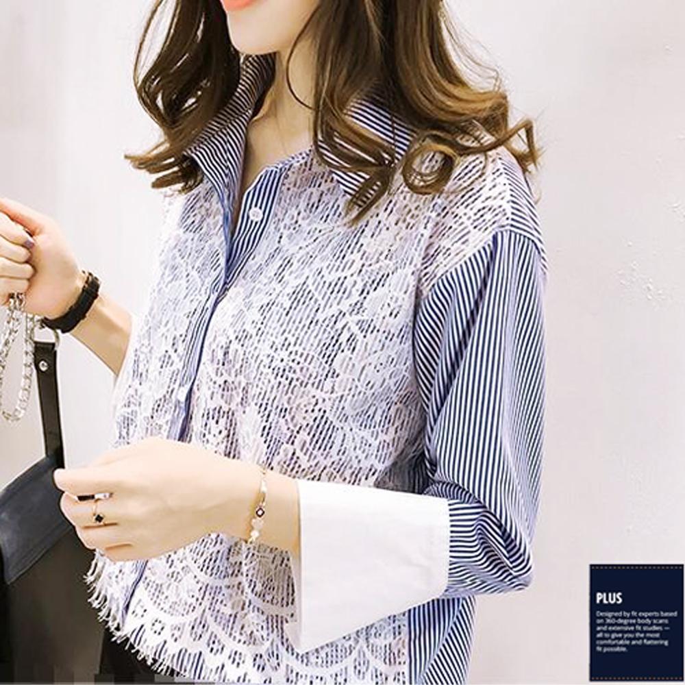 SCL兩色直條紋寬鬆造型蕾絲長袖襯衫 T1702
