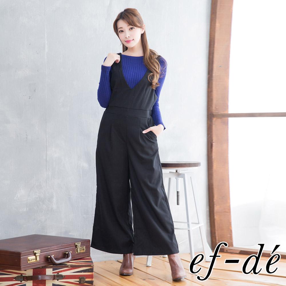 【ef-de】激安 無袖V領鬆緊腰連身吊帶褲(黑)