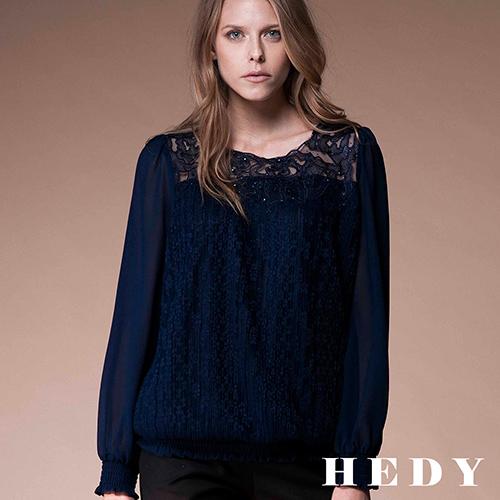 【Hedy赫蒂】水鑽透膚刺繡蕾絲上衣(丈青)
