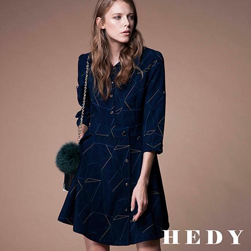 【Hedy赫蒂】不對稱排釦反褶洋裝(藍)