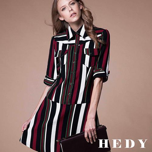 【Hedy赫蒂】配色直條低腰五分袖洋裝(紅)