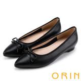 ORIN 典雅輕熟OL 牛皮百搭尖頭低跟鞋-黑色