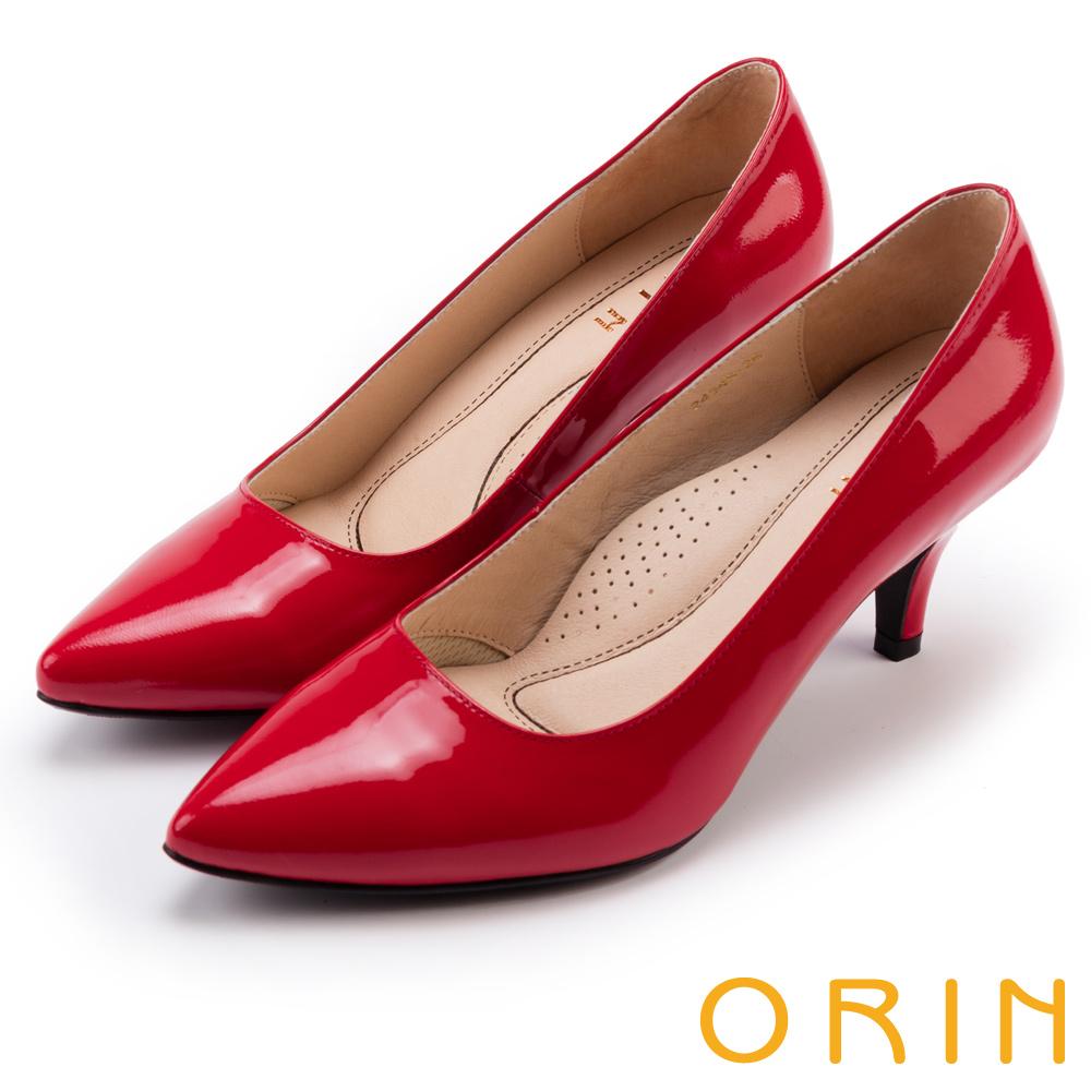 ORIN 鏡面牛皮微尖頭高跟鞋