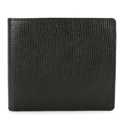 DAKS--防刮皮革壓扣零錢袋短夾(黑色)