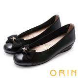 ORIN 甜美輕柔 雙水鑽圓釦環牛皮平底娃娃鞋-黑色