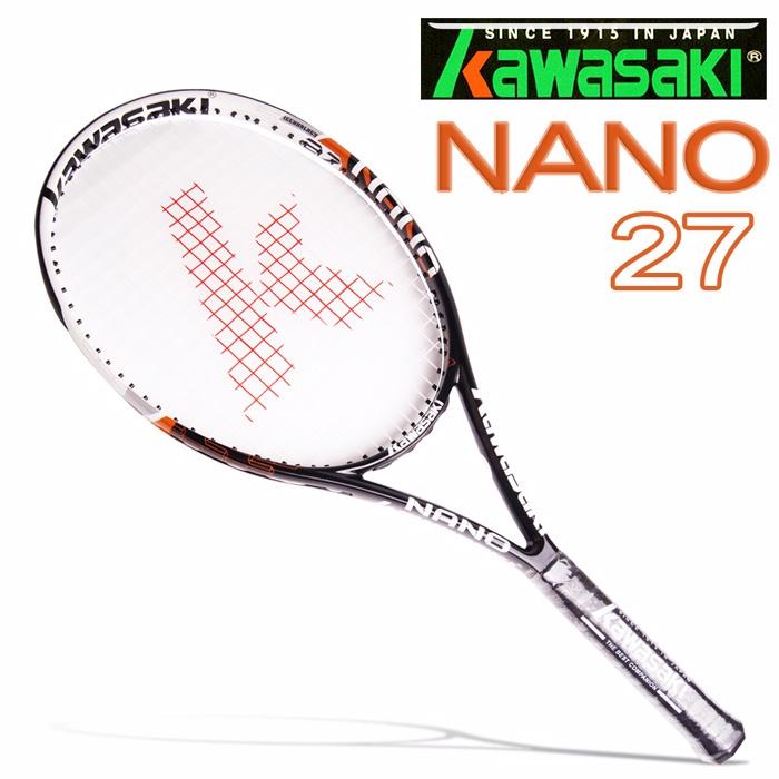 Kawasaki NANO27 專業全碳穿線網球拍(黑橘)