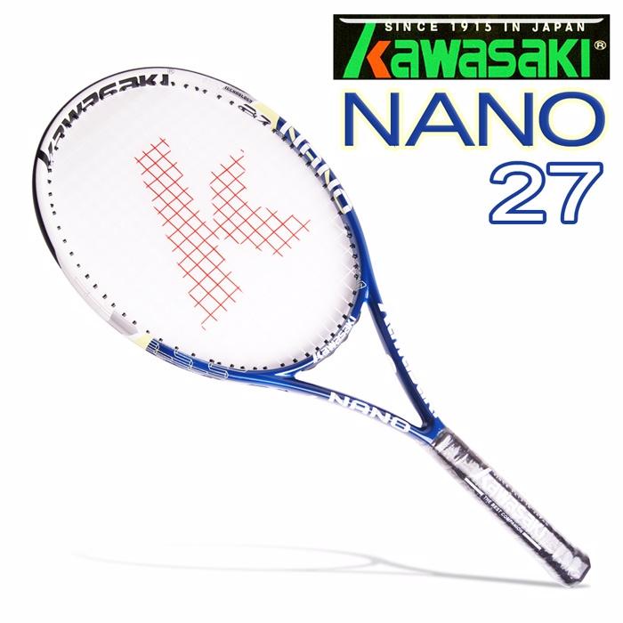 Kawasaki NANO27 專業全碳穿線網球拍(綠藍)