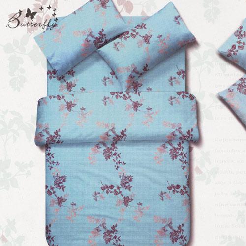 BUTTERFLY-台灣製造 柔絲絨薄式 雙人6x7被套 『飄絮』四角綁繩雙面花色