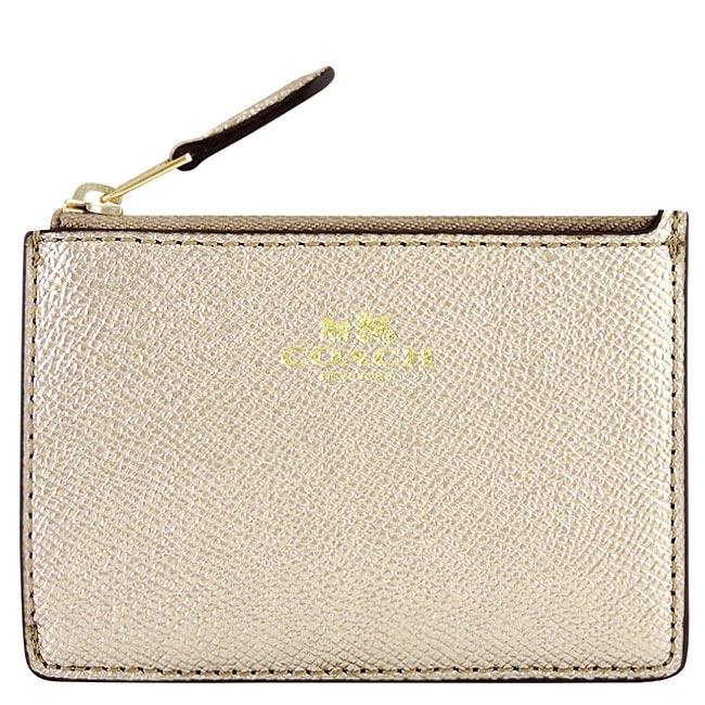 COACH 金屬光澤防刮皮革鑰匙零錢包(金色)