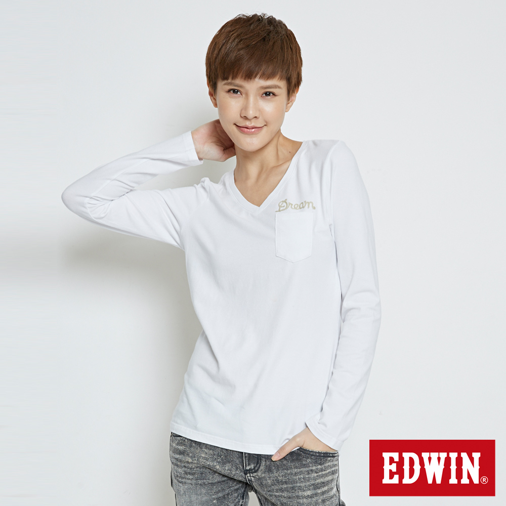 SOMETHING V領口袋繡花長袖T恤-女-白色