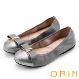 ORIN 氣質甜美風 金屬釦飾蝴蝶結牛皮娃娃鞋-灰色