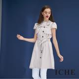 ICHE衣哲 英式風衣挺版素面拼接造型洋裝(兩色)-米
