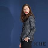 ICHE衣哲 設計款千鳥格紋羊毛兩穿造型洋裝外套-黑