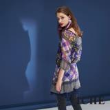ICHE衣哲平口圓領兩穿格紋印花拼接抽繩雪紡造型上衣洋裝-藍紫
