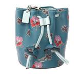 【COACH】小花拼色皮革束口水桶包(湖水綠)