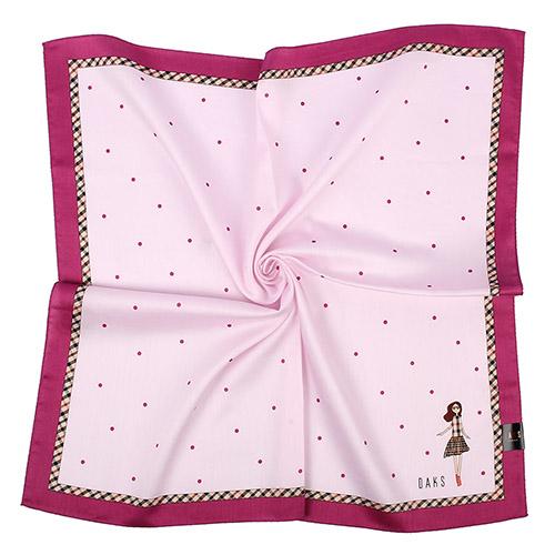 DAKS- 小圓點&娃娃圖案格紋飾邊帕巾/領巾(粉)