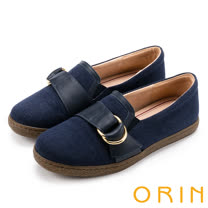ORIN 復古樂活主義 雙材質拼接雙圓飾釦平底休閒鞋-藍色