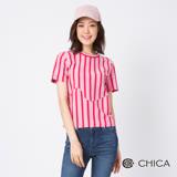 CHICA 日系街頭不規則拼接直條紋設計上衣(2色)