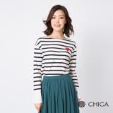 CHICA 繾綣童心異材質拼接橫條紋上衣(2色)