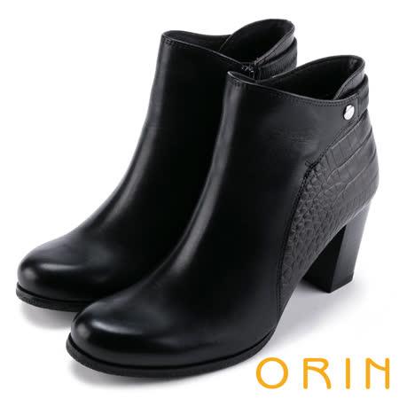 ORIN  側後壓紋牛皮粗高跟短靴