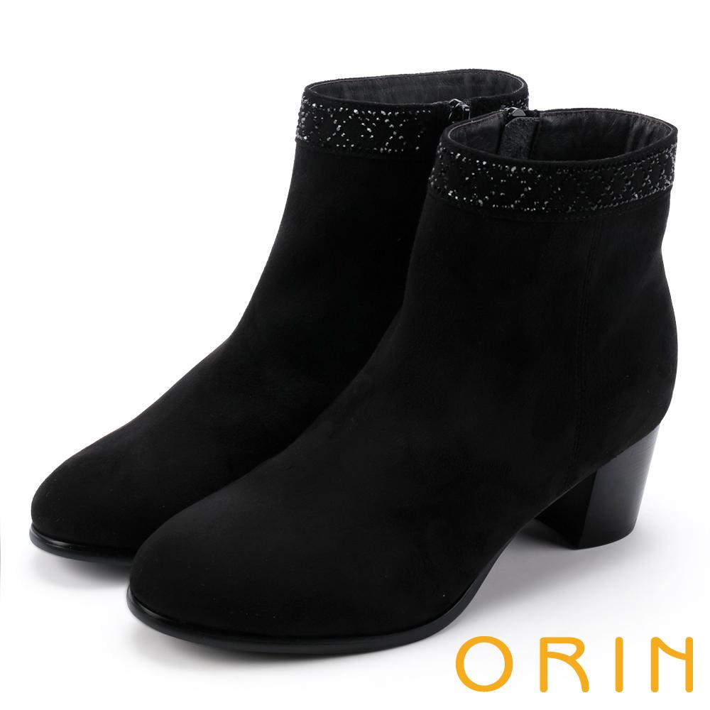 ORIN 時髦流行 鞋口燙鑽素面粗跟短靴-黑色