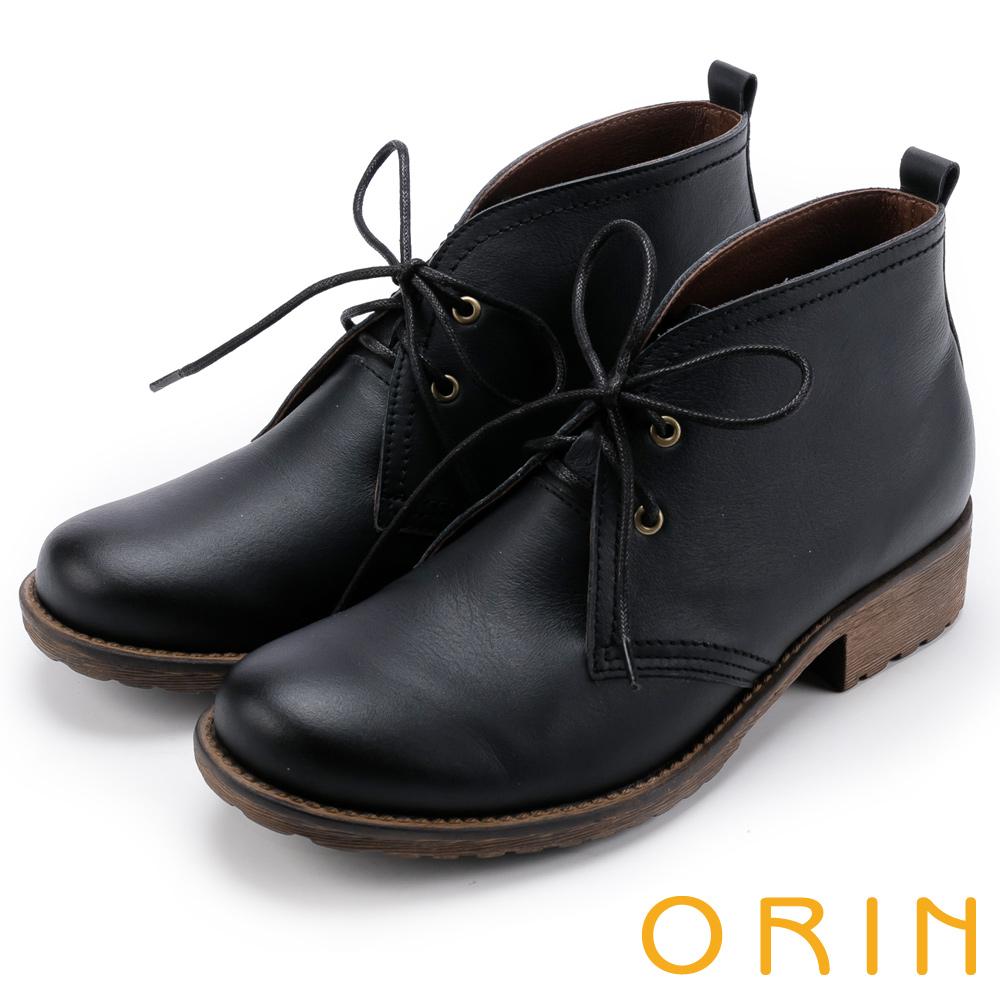 ORIN 復古學院 素面牛皮綁帶踝靴-黑色