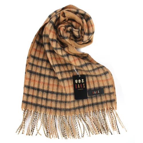 DAKS 經典格紋CAHSMERE羊毛混織圍巾-駝色
