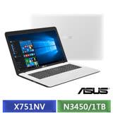 (福利品) ASUS X751NV-0031BN3450 (N3450/17.3吋/4G/1TB/NV-920MX 2G/DVD/Win10) 天使白