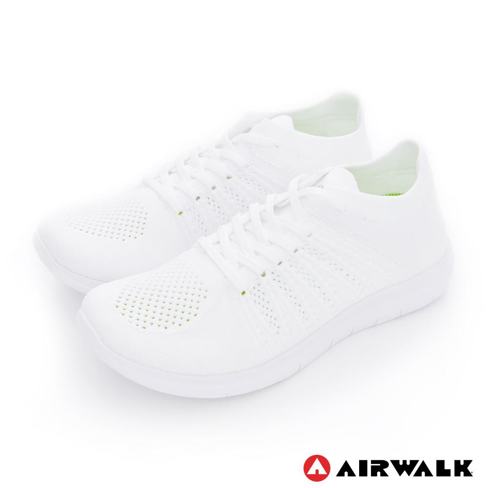【美國 AIRWALK】透氣輕量編織慢跑鞋運動鞋 男款-白色