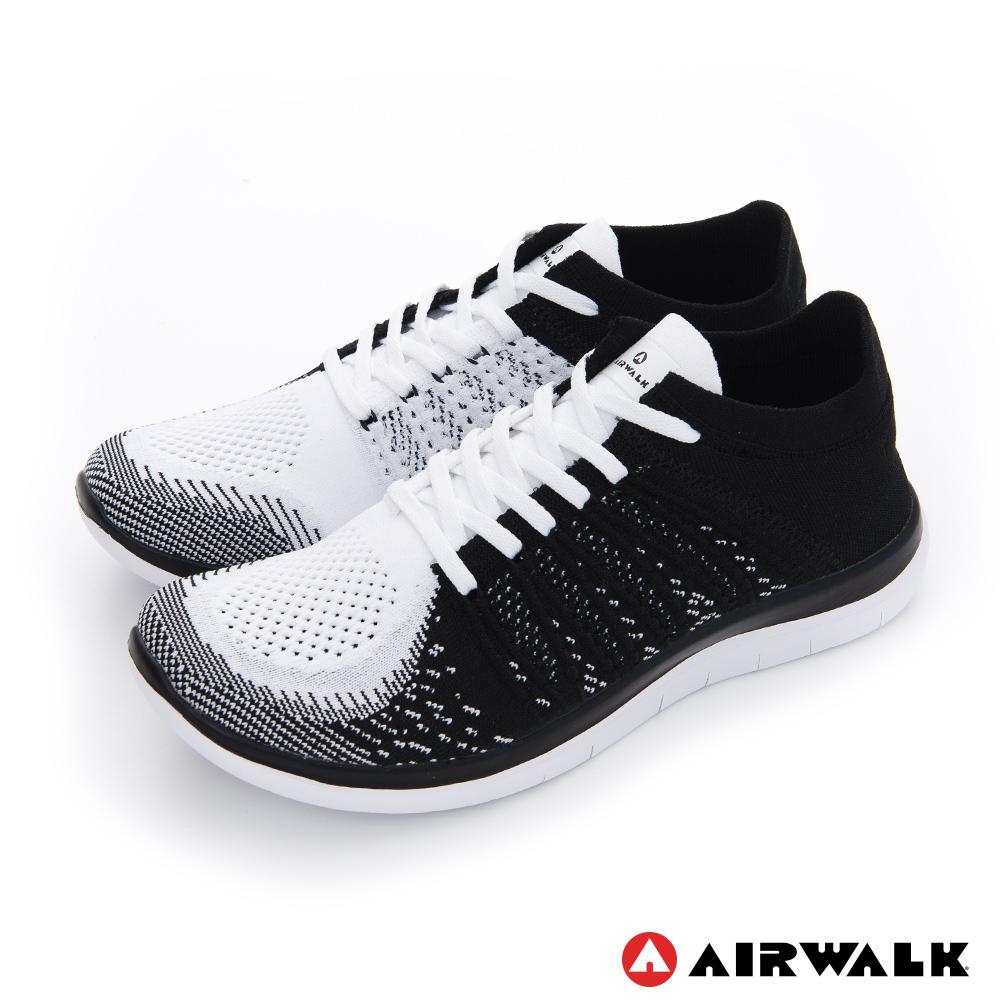 【美國 AIRWALK】透氣輕量編織慢跑鞋運動鞋 男款-黑色
