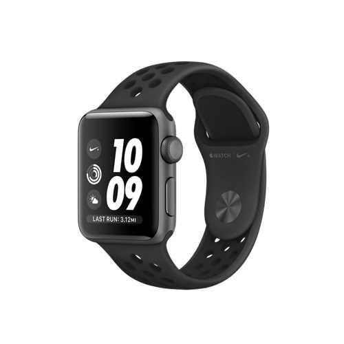 Apple Watch Nike+ GPS,38 公釐太空灰色鋁金屬錶殼搭 Anthracite 配黑色 Nike 運動型錶帶 _ 台灣公司貨