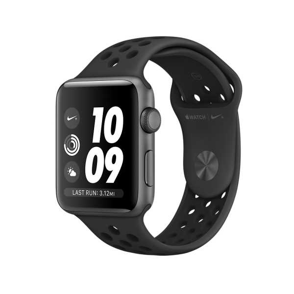 Apple Watch Nike+ GPS,42公釐太空灰色鋁金屬錶殼搭 Anthracite 配黑色 Nike 運動型錶帶 _ 台灣公司貨