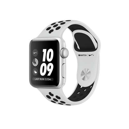 Apple Watch Nike+ GPS,38 公釐銀色鋁金屬錶殼搭 Pure Platinum 配黑色 Nike 運動型錶帶 _ 台灣公司貨