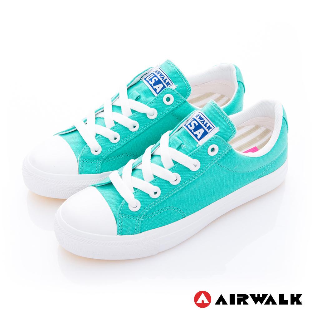 AIRWALK(女) - 可愛圓頭青春百搭帆布鞋-淺綠色