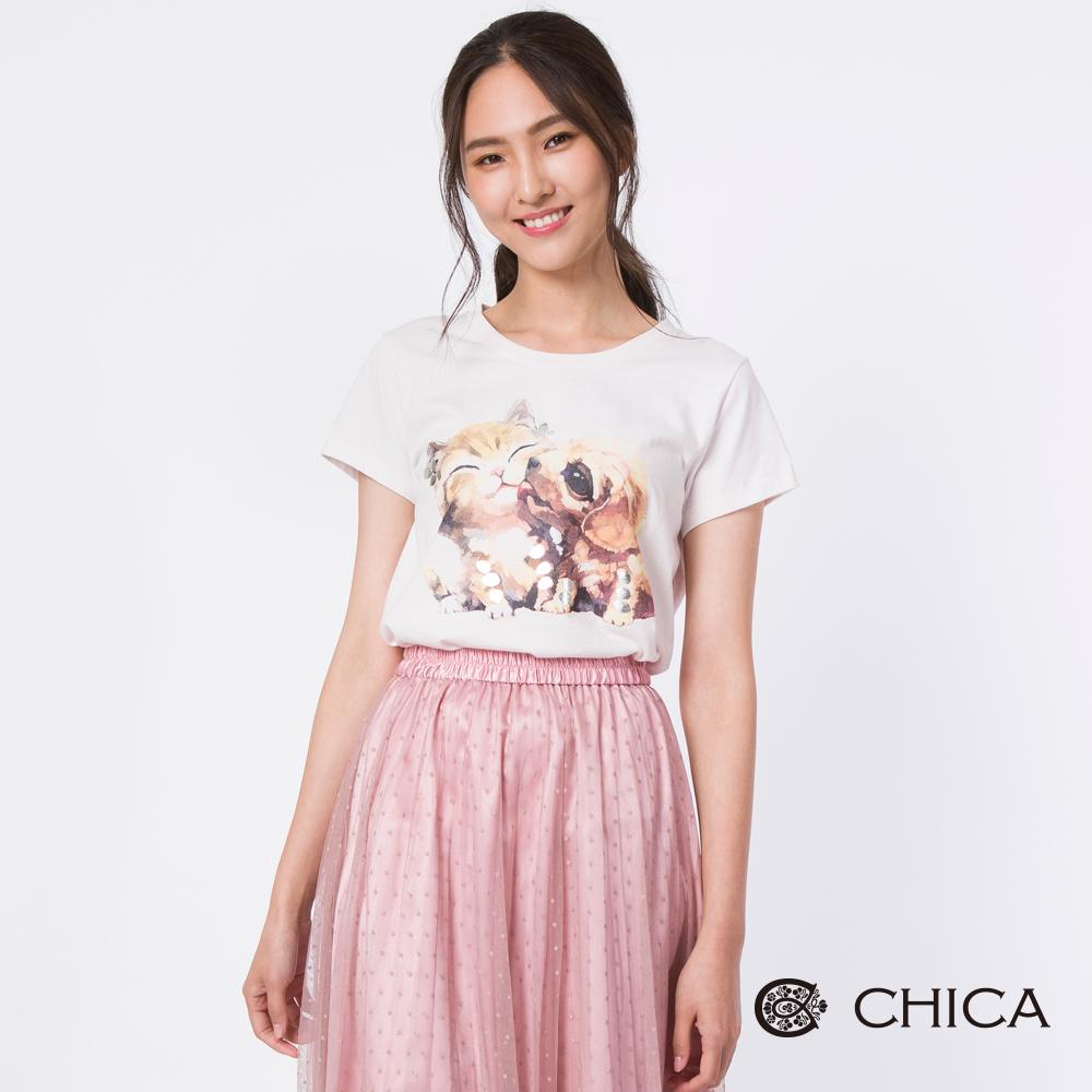 CHICA 浪漫呢喃簡約色塊拼接長版襯衫