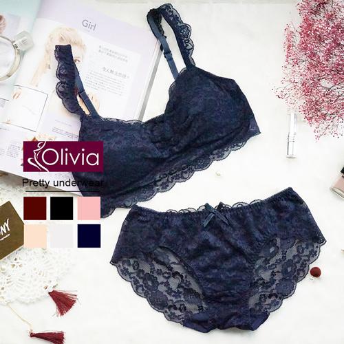 【Olivia】無鋼圈全蕾絲薄款抹胸內衣褲套組-藍色