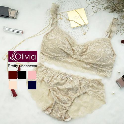 【Olivia】無鋼圈全蕾絲薄款抹胸內衣褲套組-杏色